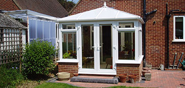 Small Edwardian Conservatory with Double Doors overlooking Garden in Oxford