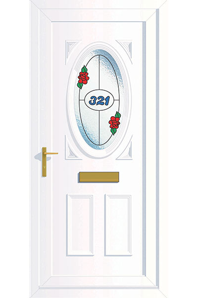 White Composite Door With the number 321 and red rose stained glass window