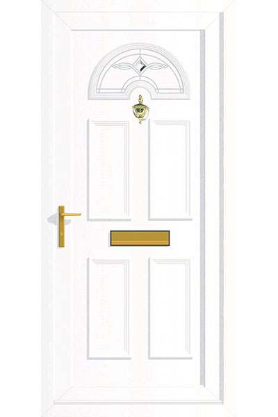 White uPVC Door with Gold Letterbox