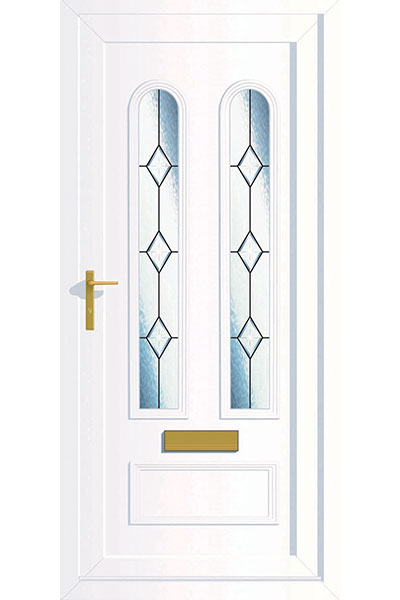 uPVC Door in White with leaded patterns supplied by Paradise Windows