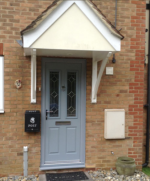 Modern Grey Composite Door with Stained Glass installed in Oxfordshire by Paradise Windows