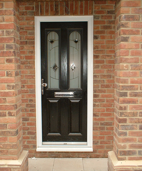 Black composite door installed in Oxfordshire by Paradise Windows