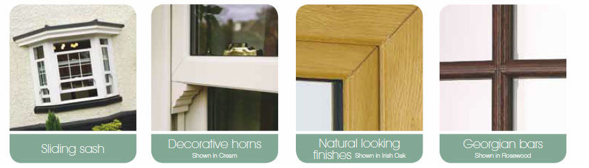 Examples of decorative details we can add to Vertical Sliding Sash Windows