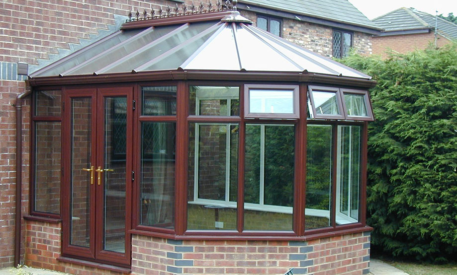Mahogony Colour Victorian Conservatory installed in Oxfordshire by Paradise Windows
