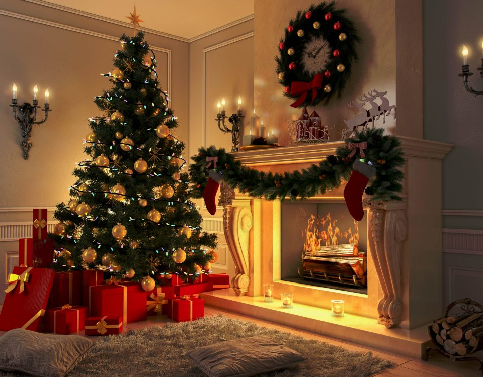 Living room at Christmas with Tree and Fireplace