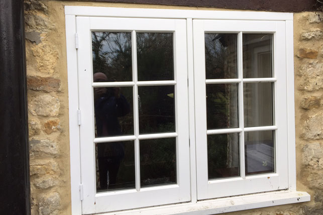 White Hardwood Timber Casement Window Frames with Georgian Bars installed in Oxford