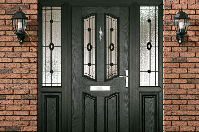 Black Composite Door on the front of an Oxfordshire house installed by Paradise Windows