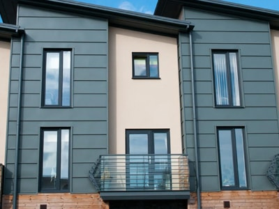 New Build Flats with Dark Blue Aluminium Windows Oxford