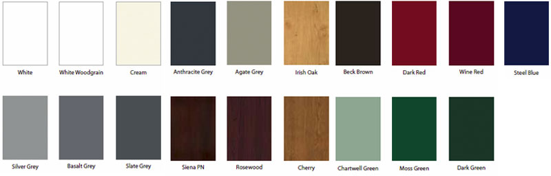 uPVC window colour samples
