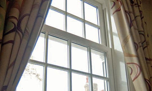 Sash Windows with Curtains Open
