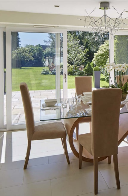 Sliding Patio Doors Oxfordshire overlooking garden from dining area